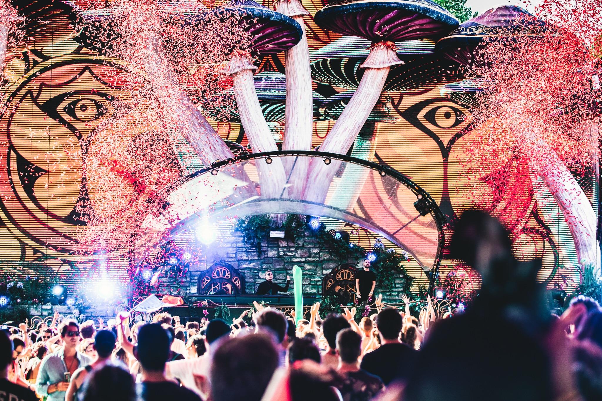 Photo d'événement prise lors du festival Tomorrowland. Photo prise depuis le public vers le DJ.